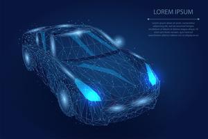 Blaues polygonales Bewegungsauto vektor
