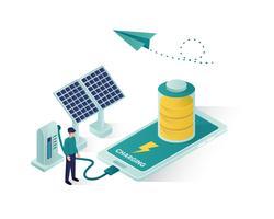 isometrisk illustration för förnybar energi