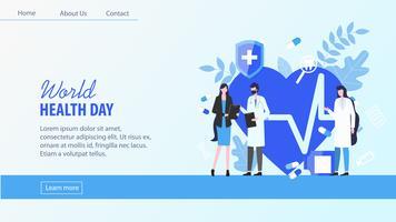 världshälsodag kvinna patient man läkare sjuksköterska vektor
