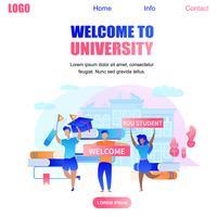 Willkommen bei der Universität Banner mit glücklichen Studenten