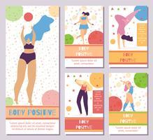 Ställ in nätverk Mobil Berättelser Body Positive Motive vektor