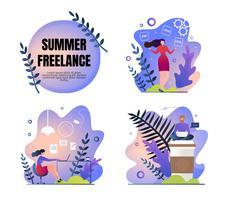 Set Work Poster är Written Summer Freelance Flat vektor