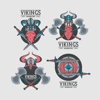 Vikings krigare tryckte mallar för tshirt vektor
