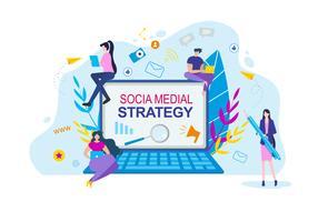 Sociala medier strategi tecknade människor med anteckningsbok