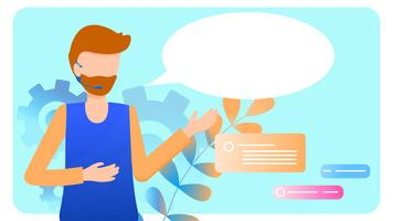 Helpdesk für den Callcenter-Service von Man Wear Headset vektor