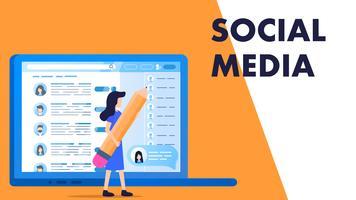 kvinna håller stor blyertspenna välj anställdas sociala medier