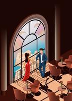 Vacker kvinna och man i restaurang nära fönster