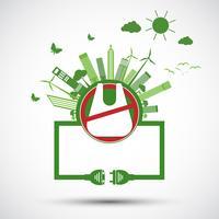 Ekologi och miljöbesparande världskoncept vektor