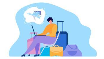 Kvinna som köper biljetter online