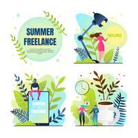 Stellen Sie Summer Freelancing Rest & Work ein vektor
