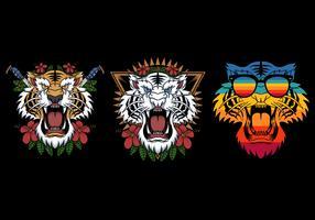 tigerkopf in verschiedenen stilen