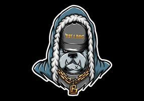 Bulldogge Rapper tragen goldene Kette vektor