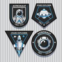 Uppsättning av Space Explorer-lappar emblemdesign vektor