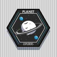 space explorer planet patch emblem design vektor