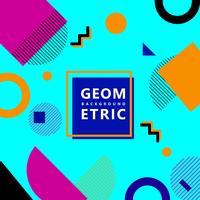 Blå trendiga geometriska former memphis hipster bakgrund