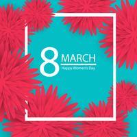 8 mars. rosa blommig gratulationskort. lycklig kvinnodag.