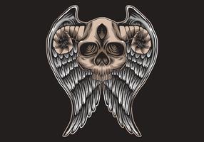 Schädel mit Hörnern und Flügeln