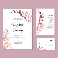 Blommig trädgårdsinbjudningskort för lyckligt bröllopskort