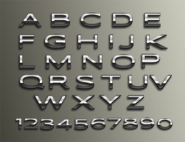 Vektor Chrome 3d Alphabet