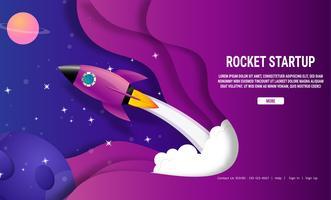 Raketenschiff Galaxie Start Geschäftsideenkonzept