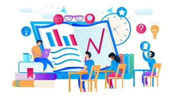 Junge Kerle und Mädchen, die Internet-Kurse lernen vektor