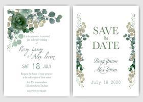 Grönska bröllopinbjudan vektor