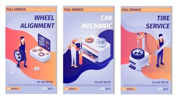 Uppsättning av bokstäverannonser för bilservice