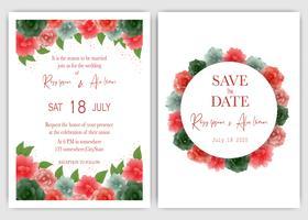 Rose bröllop bjud in och spara datumet vektor