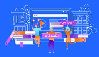 Välkommen till dig Studenter Lyckliga Studenter Möt nybörjare vektor