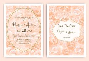 Rose bröllopinbjudningskort Blommig handritad ram vektor