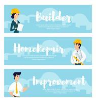 Uppsättning av illustrationer av arkitekter på jobbet