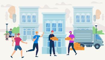 Arbeiter bringen mit Van Car Ziegel zum Hausbau vektor