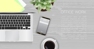 Kontorsskrivbord, arbetsplatsskrivbord vektor
