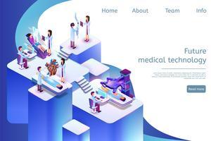 Isometrische Fahnen-zukünftige Medizintechnik in 3D vektor