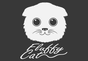 fluffigt vitt katthuvud vektor