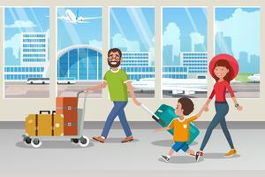Lycklig familj som bär bagage på flygplatsen