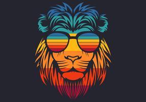 Retro Löwenkopf mit Brille