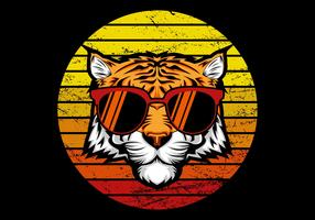 Retro Tiger vor Sonnenuntergang