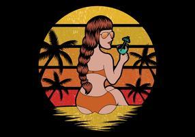 kvinna på strandsemester vektor