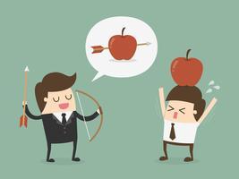Affärsman som skjuter äpplet från en annan mans huvud