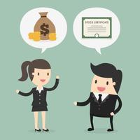 Geschäftsmann und Frau, die über Aktien sprechen vektor