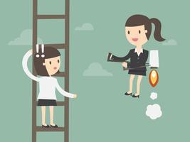Kvinnan klättrar stege medan andra använder jetpack