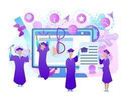 Glada unga människor i klänning firar examen