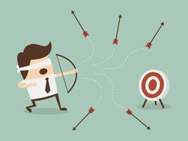 Ögonbindel affärsman som försöker skjuta målet