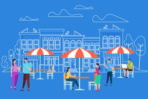 Männer- u. Frauen-Charaktere, die Café am im Freien sich entspannen