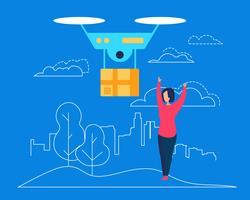 Drone leverera lådan paket till konsumenten för ung kvinna