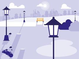 Szenenpark mit Lampen und Bänken vektor