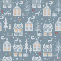 Sömlös julmodell med stugor, hus, träd på blå bakgrund. Vektorillustration.