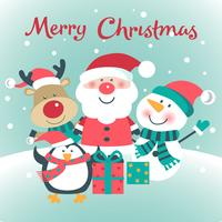 Julkort med jultomten, hjortar, snögubbe, pingvin.