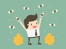 Lycklig ung affärsman som kastar upp pengar